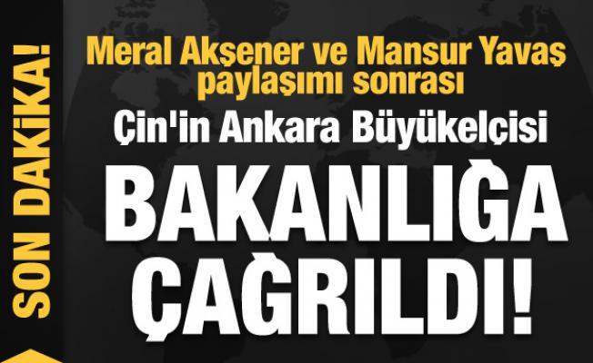 Akşener ve Yavaş paylaşımı sonrası Çin'in Ankara Büyükelçisi bakanlığa çağrıldı