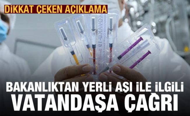 Bakanlık, yerli aşı için gönüllü arandığını duyurdu
