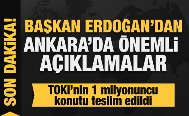 Başkan Erdoğan TOKİ'nin 1 milyonuncu anahtar teslimi töreninde konuşuyor