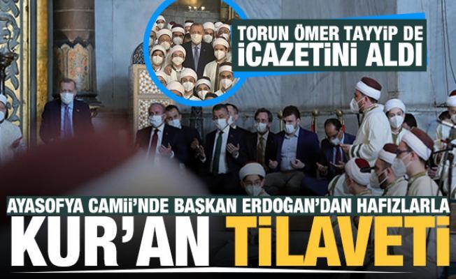Başkan Erdoğan'dan Ayasofya-ı Kebir Camii Şerifi'nde Kur'an tilaveti
