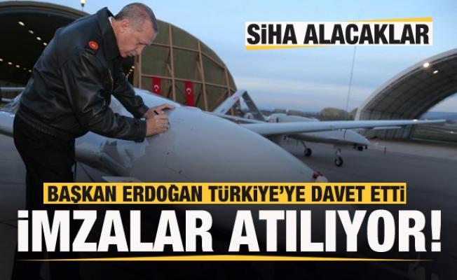SİHA alacaklar! Başkan Erdoğan Türkiye'ye davet etti! İmzalar atılıyor