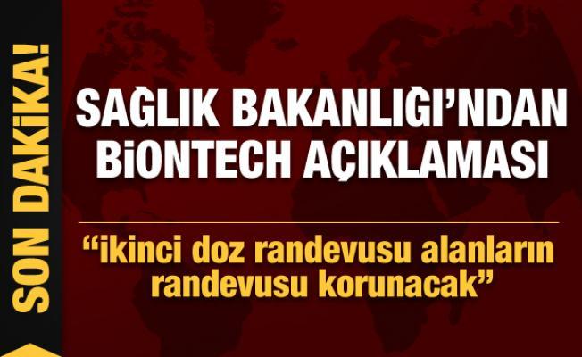 Son dakika: Sağlık Bakanlığı'ndan Biontech açıklaması