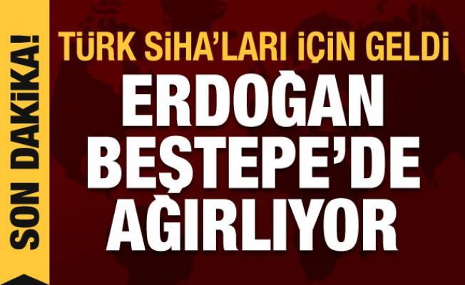 Türk SİHA'ları için geldi! Cumhurbaşkanı Erdoğan Beştepe'de kabul etti