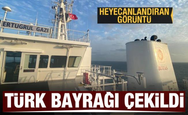 Türkiye'nin ilk yüzer LNG gemisi Ertuğrul Gazi'ye Türk bayrağı çekildi