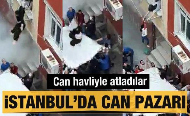 İstanbul'da can pazarı! 3'ü çocuk 4 kişi çarşafa atladı